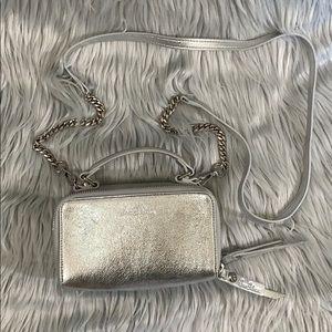 Sam Edelman shiny silver mini purse handbag Colby